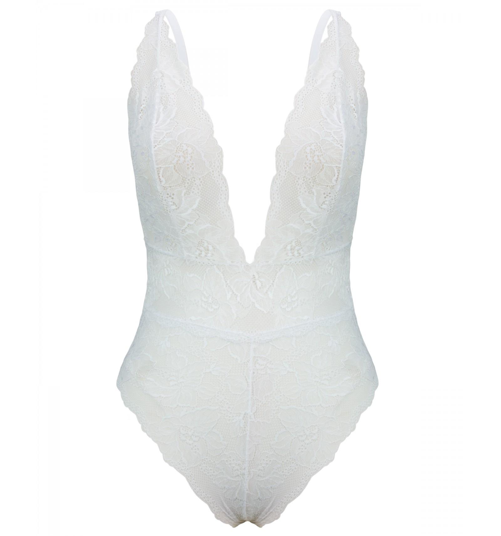 8f84ac990 Body Lorhen em Renda Sem Bojo Com Decote Profundo Branco
